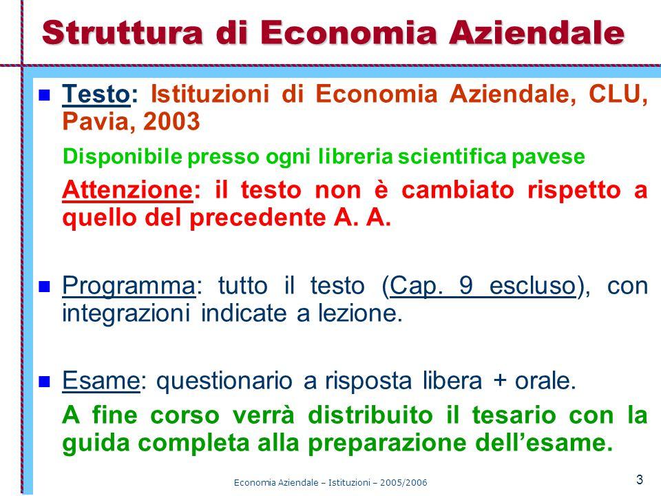 Economia Aziendale – Istituzioni – 2005/2006 34 Sistema vincolato: se gli input possono assumere valori non superiori ad un massimo (o non inferiori ad un minimo); altrimenti è libero.