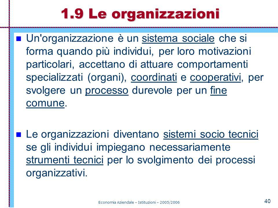 Economia Aziendale – Istituzioni – 2005/2006 40 Un organizzazione è un sistema sociale che si forma quando più individui, per loro motivazioni particolari, accettano di attuare comportamenti specializzati (organi), coordinati e cooperativi, per svolgere un processo durevole per un fine comune.