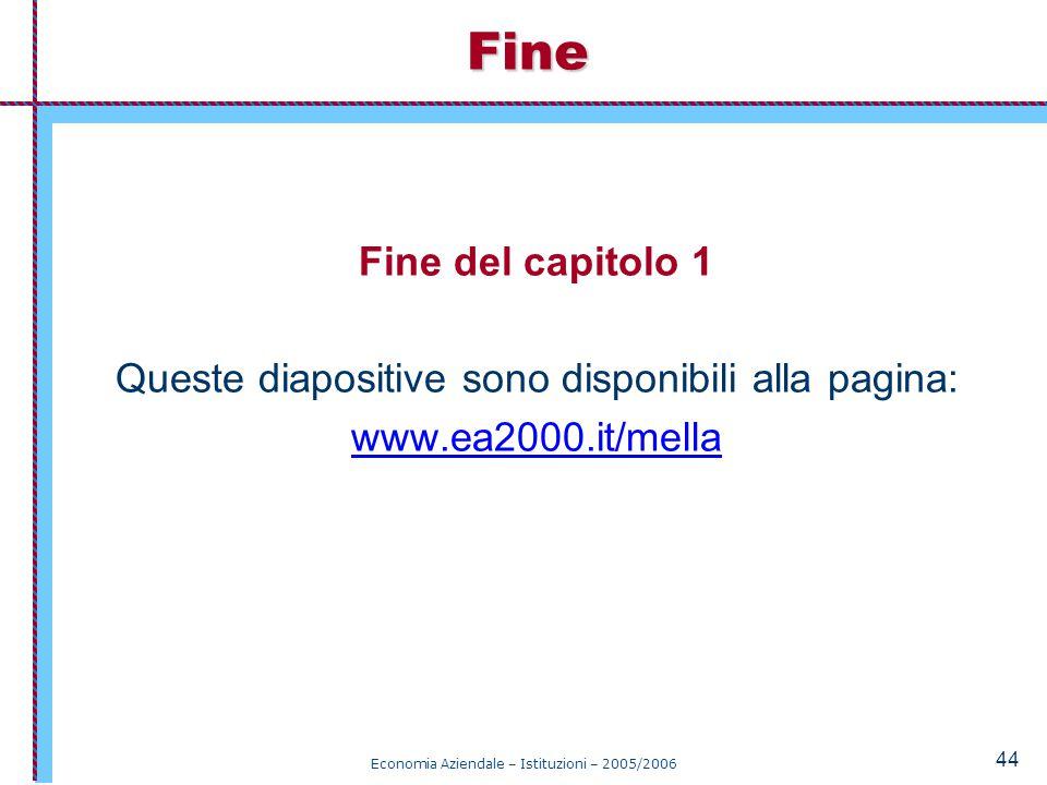 Economia Aziendale – Istituzioni – 2005/2006 44 Fine del capitolo 1 Queste diapositive sono disponibili alla pagina: www.ea2000.it/mellaFine