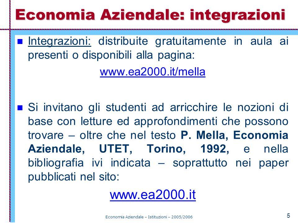 Economia Aziendale – Istituzioni – 2005/2006 Storia e Matematica Prerequisiti: nessuno.