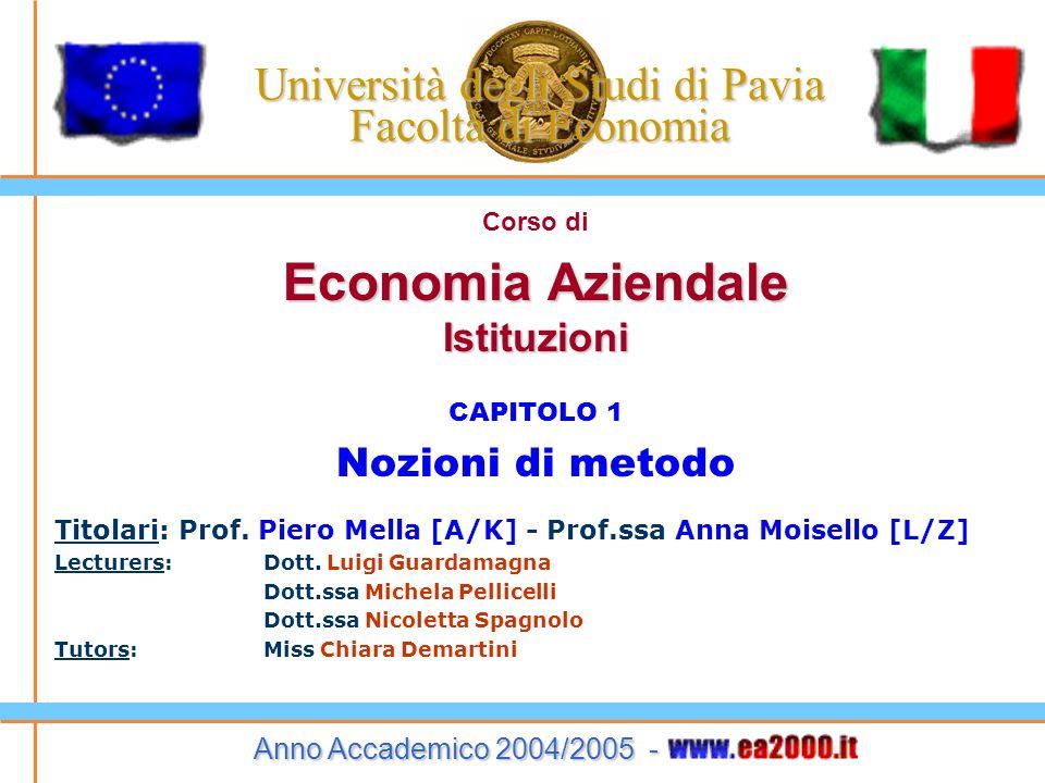 Economia Aziendale – Istituzioni – 2005/2006 19 Due modelli indispensabili Tra i modelli che utilizzeremo nel corso ricordo: I processi ed i sistemi Le organizzazioni