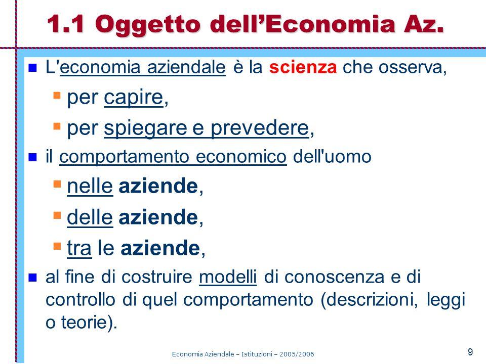 Economia Aziendale – Istituzioni – 2005/2006 10 La scienza ricerca leggi e teorie generali.