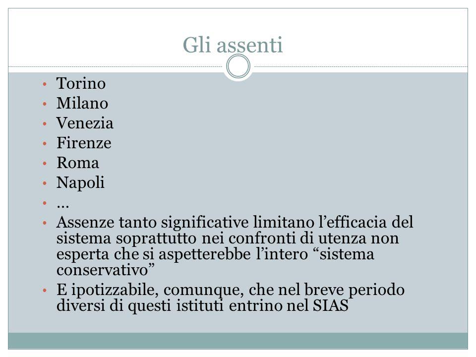 Gli assenti Torino Milano Venezia Firenze Roma Napoli … Assenze tanto significative limitano l'efficacia del sistema soprattutto nei confronti di uten
