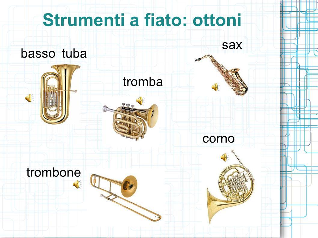 Strumenti a fiato: ottoni basso tuba trombone tromba corno sax