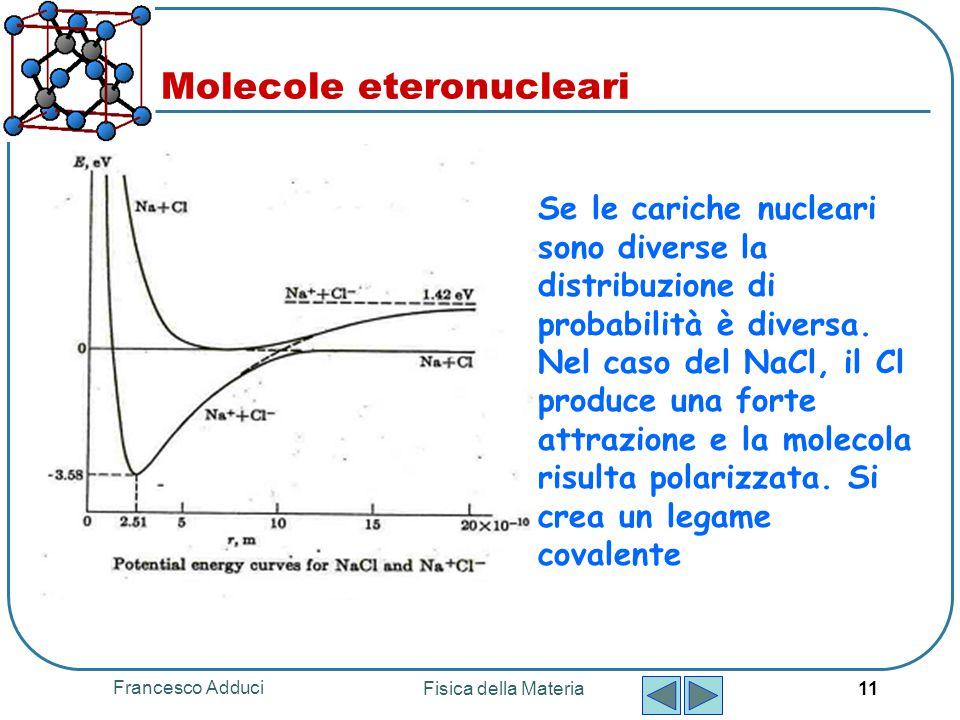 Francesco Adduci Fisica della Materia 11 Molecole eteronucleari Se le cariche nucleari sono diverse la distribuzione di probabilità è diversa. Nel cas