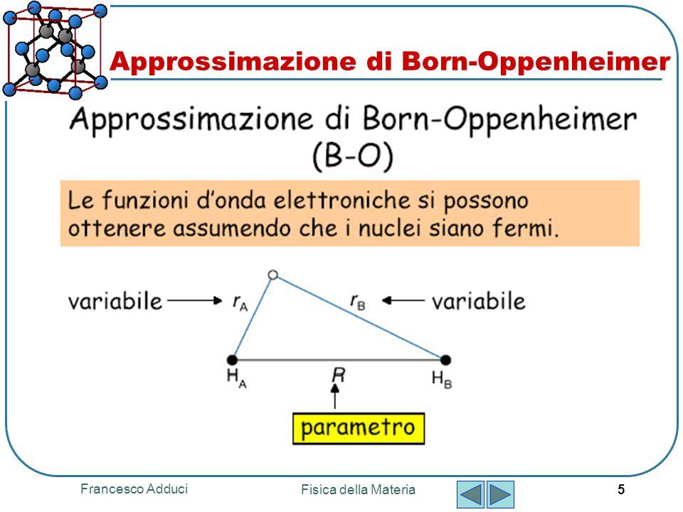Francesco Adduci Fisica della Materia 5 Approssimazione di Born-Oppenheimer