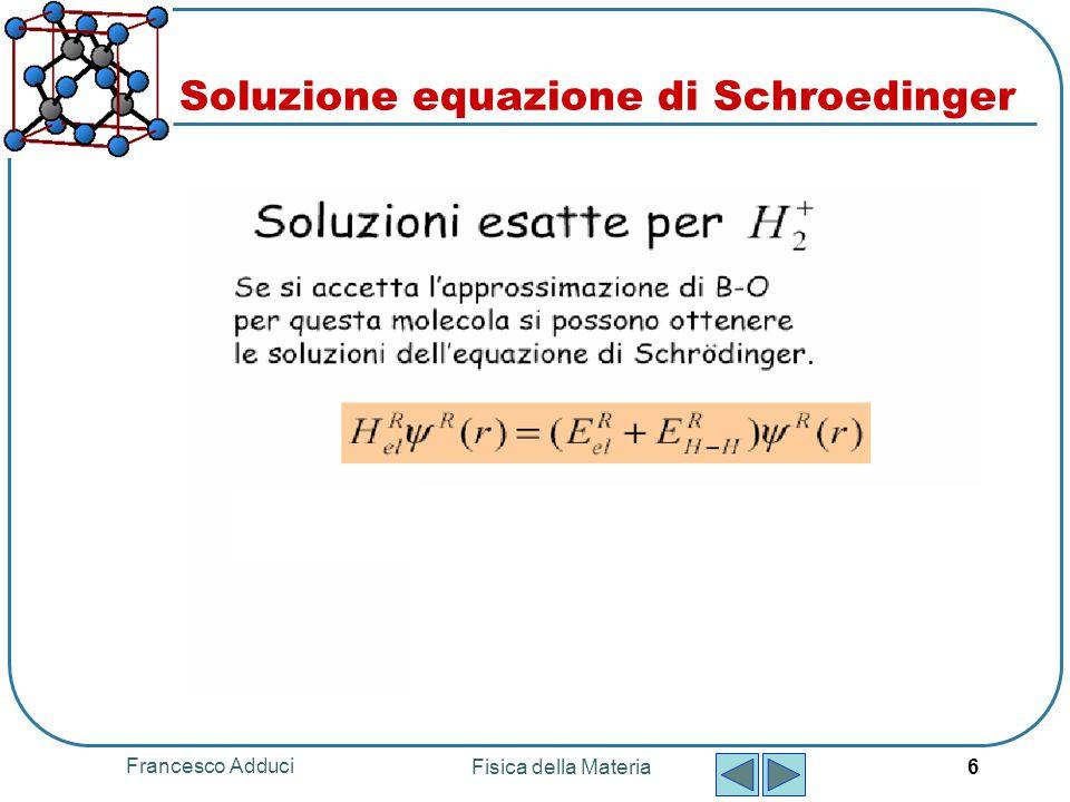 Francesco Adduci Fisica della Materia 6 Soluzione equazione di Schroedinger