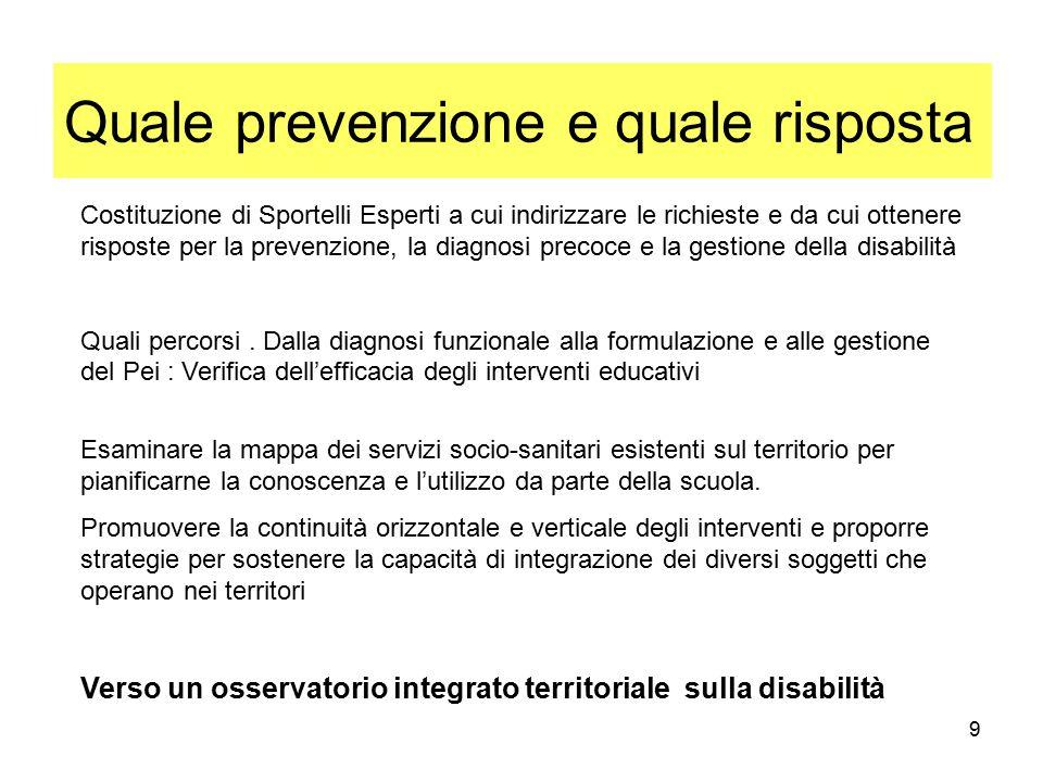 9 Quale prevenzione e quale risposta Costituzione di Sportelli Esperti a cui indirizzare le richieste e da cui ottenere risposte per la prevenzione, la diagnosi precoce e la gestione della disabilità Quali percorsi.