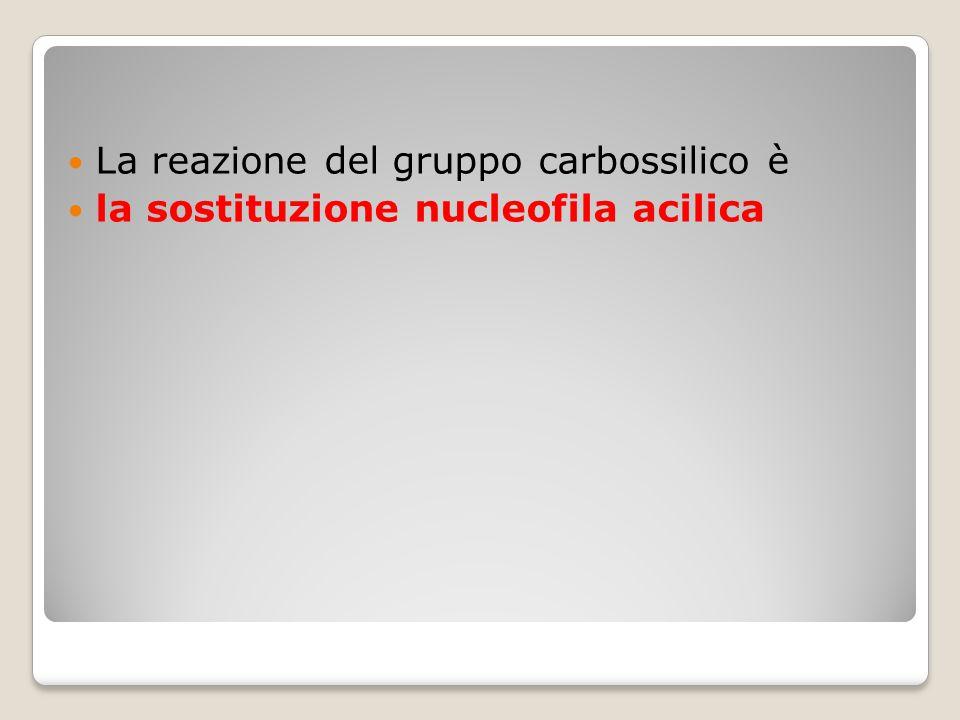 La reazione del gruppo carbossilico è la sostituzione nucleofila acilica