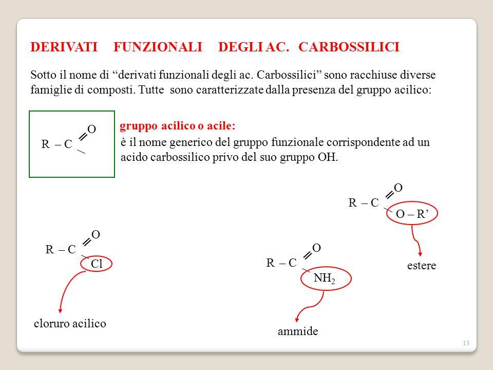 """13 DERIVATI FUNZIONALI DEGLI AC. CARBOSSILICI Sotto il nome di """"derivati funzionali degli ac. Carbossilici"""" sono racchiuse diverse famiglie di compost"""