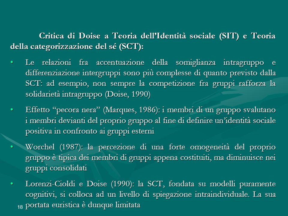 18 Critica di Doise a Teoria dell'Identità sociale (SIT) e Teoria della categorizzazione del sé (SCT): Le relazioni fra accentuazione della somiglianz