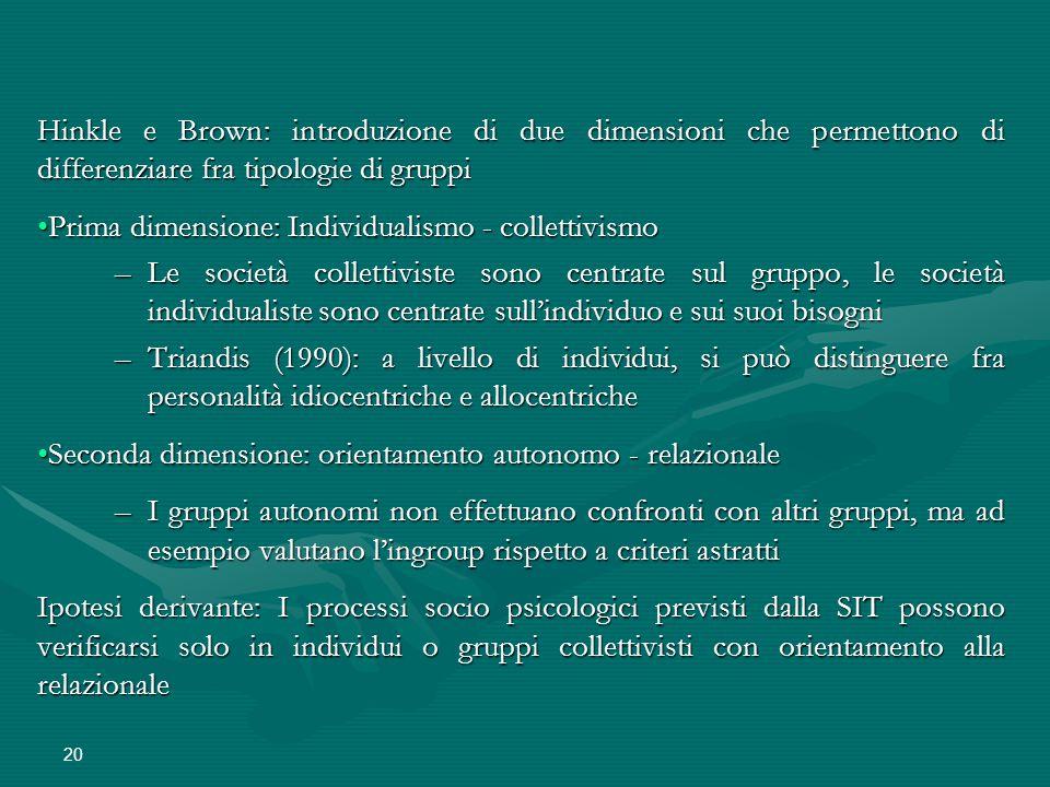 20 Hinkle e Brown: introduzione di due dimensioni che permettono di differenziare fra tipologie di gruppi Prima dimensione: Individualismo - collettiv