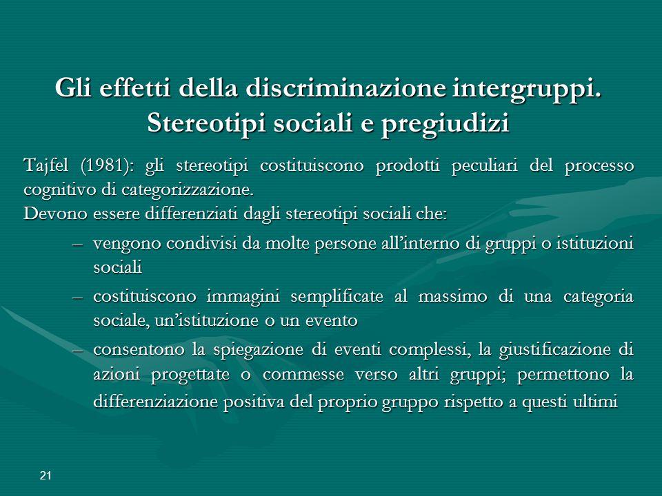 21 Gli effetti della discriminazione intergruppi. Stereotipi sociali e pregiudizi Tajfel (1981): gli stereotipi costituiscono prodotti peculiari del p