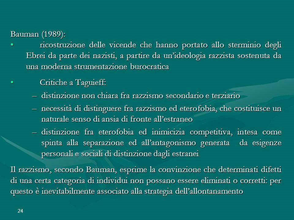 24 Bauman (1989): ricostruzione delle vicende che hanno portato allo sterminio degli Ebrei da parte dei nazisti, a partire da un'ideologia razzista so