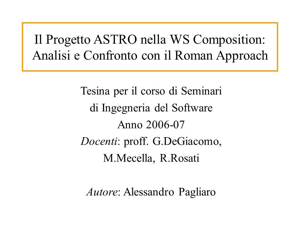 Il Progetto ASTRO nella WS Composition: Analisi e Confronto con il Roman Approach Tesina per il corso di Seminari di Ingegneria del Software Anno 2006-07 Docenti: proff.