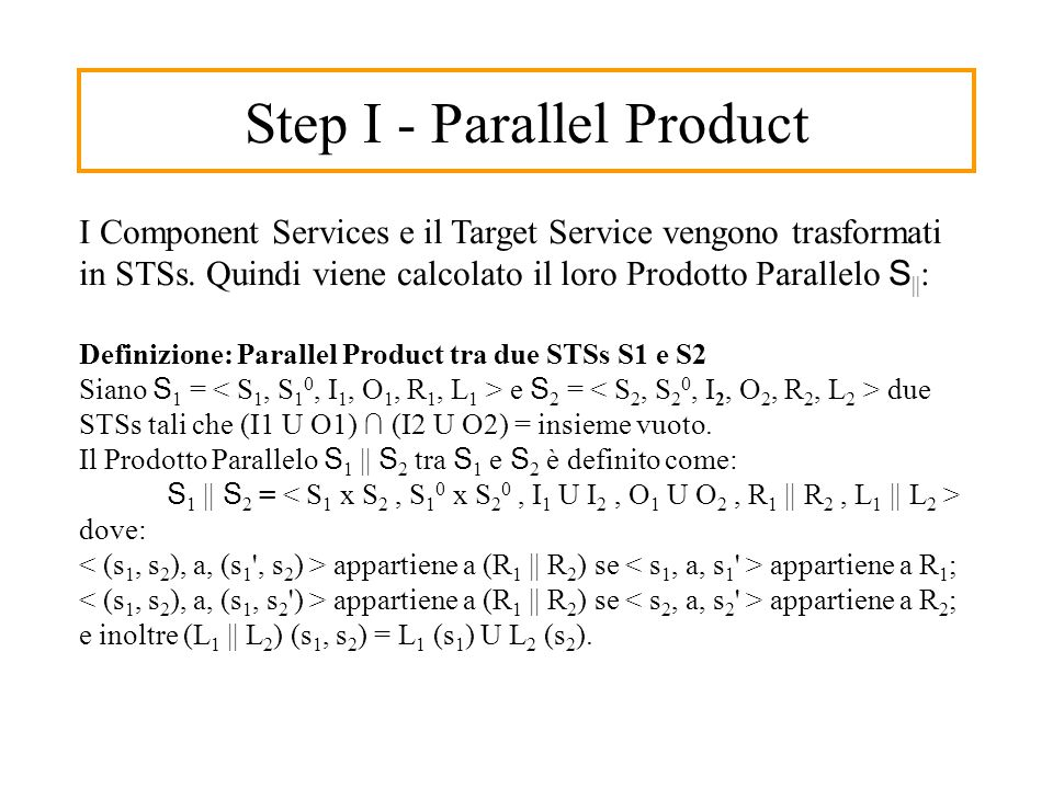 Step I - Parallel Product I Component Services e il Target Service vengono trasformati in STSs.