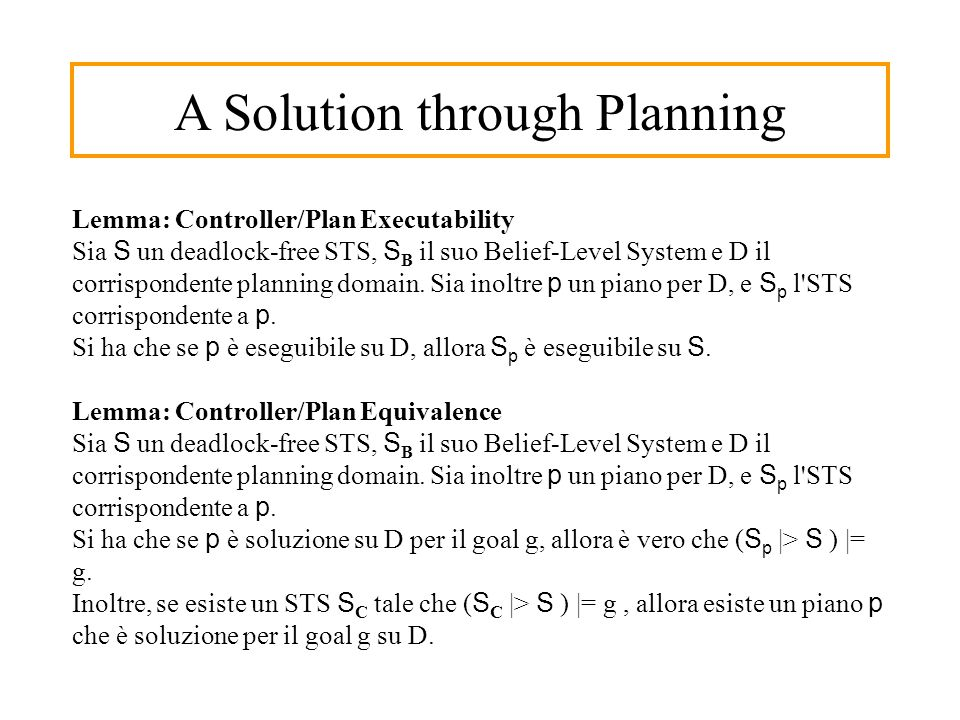 A Solution through Planning Lemma: Controller/Plan Executability Sia S un deadlock-free STS, S B il suo Belief-Level System e D il corrispondente planning domain.