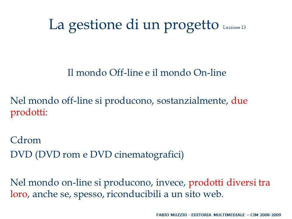Il mondo Off-line e il mondo On-line Nel mondo off-line si producono, sostanzialmente, due prodotti: Cdrom DVD (DVD rom e DVD cinematografici) Nel mondo on-line si producono, invece, prodotti diversi tra loro, anche se, spesso, riconducibili a un sito web.