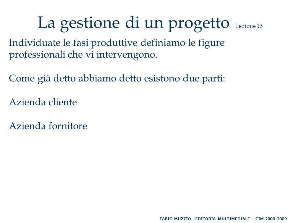 La gestione di un progetto Lezione 13 Individuate le fasi produttive definiamo le figure professionali che vi intervengono.