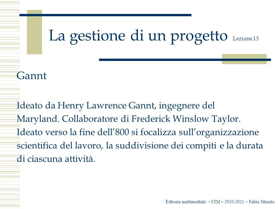 La gestione di un progetto Lezione 13 Gannt Ideato da Henry Lawrence Gannt, ingegnere del Maryland.