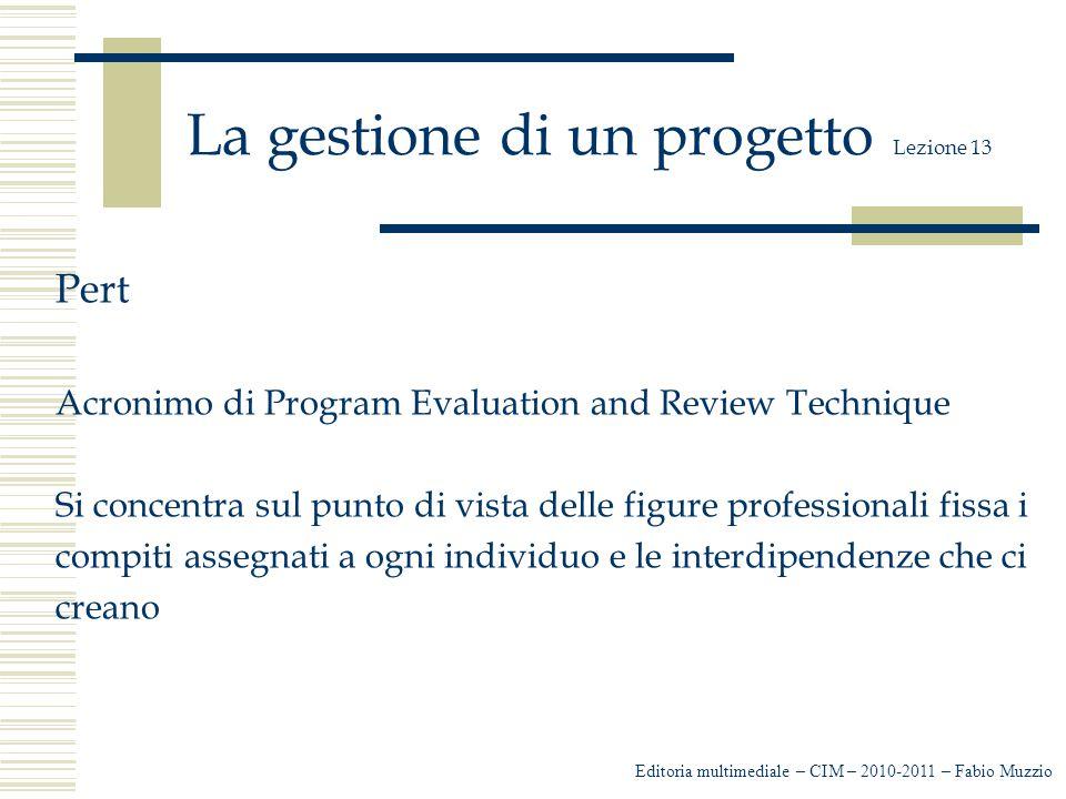 La gestione di un progetto Lezione 13 Pert Acronimo di Program Evaluation and Review Technique Si concentra sul punto di vista delle figure professionali fissa i compiti assegnati a ogni individuo e le interdipendenze che ci creano Editoria multimediale – CIM – 2010-2011 – Fabio Muzzio