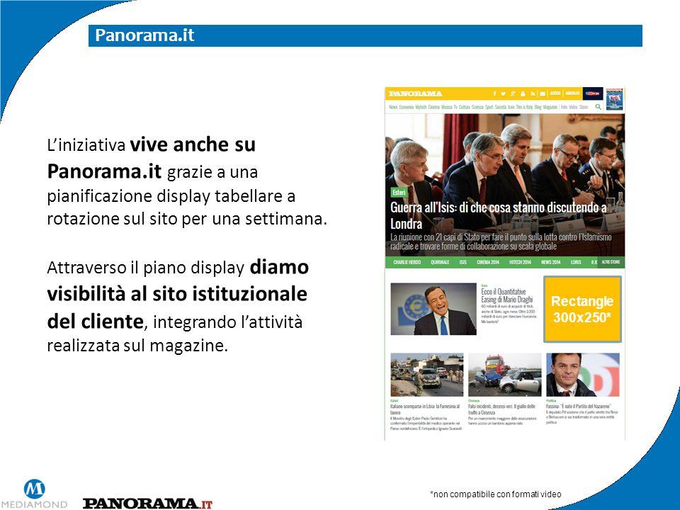 Panorama.it L'iniziativa vive anche su Panorama.it grazie a una pianificazione display tabellare a rotazione sul sito per una settimana. Attraverso il