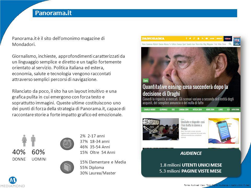 Panorama.it Panorama.it è il sito dell'omonimo magazine di Mondadori. Giornalismo, inchieste, approfondimenti caratterizzati da un linguaggio semplice