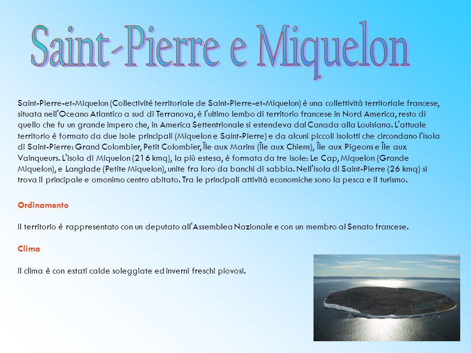 Saint-Pierre-et-Miquelon (Collectivité territoriale de Saint-Pierre-et-Miquelon) è una collettività territoriale francese, situata nell Oceano Atlantico a sud di Terranova, è l ultimo lembo di territorio francese in Nord America, resto di quello che fu un grande impero che, in America Settentrionale si estendeva dal Canada alla Louisiana.