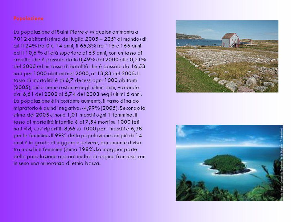 Popolazione La popolazione di Saint Pierre e Miquelon ammonta a 7012 abitanti (stima del luglio 2005 – 225ª al mondo) di cui il 24% tra 0 e 14 anni, il 65,3% tra i 15 e i 65 anni ed il 10,6 % di età superiore ai 65 anni, con un tasso di crescita che è passato dallo 0,49% del 2000 allo 0,21% del 2005 ed un tasso di natalità che è passato da 16,53 nati per 1000 abitanti nel 2000, ai 13,83 del 2005.