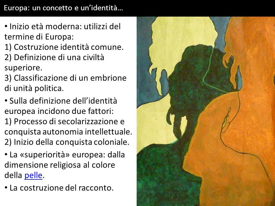 Europa: un concetto e un'identità… Inizio età moderna: utilizzi del termine di Europa: 1) Costruzione identità comune. 2) Definizione di una civiltà s