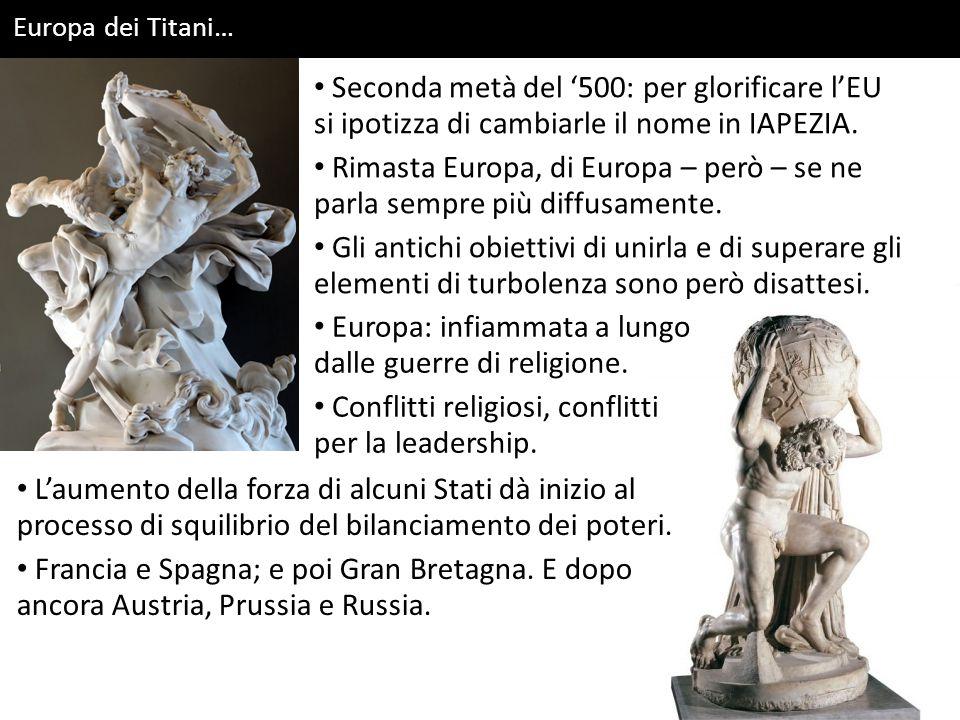 Europa dei Titani… Seconda metà del '500: per glorificare l'EU si ipotizza di cambiarle il nome in IAPEZIA. Rimasta Europa, di Europa – però – se ne p