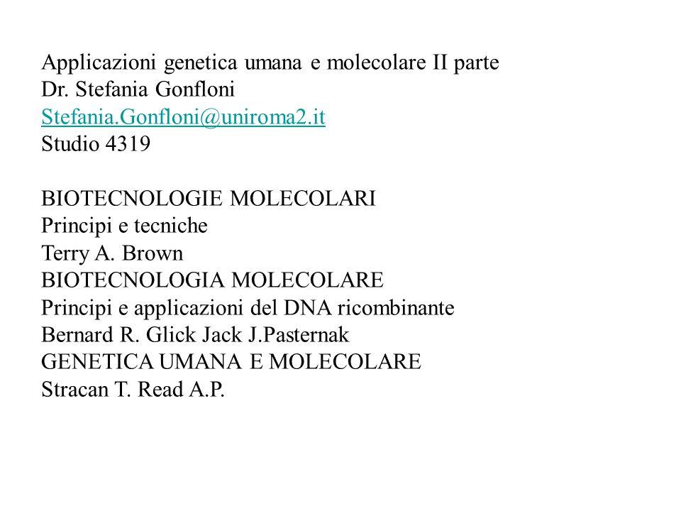 Applicazioni genetica umana e molecolare II parte Dr. Stefania Gonfloni Stefania.Gonfloni@uniroma2.it Studio 4319 BIOTECNOLOGIE MOLECOLARI Principi e