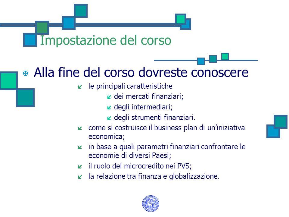 Impostazione del corso X Alla fine del corso dovreste conoscere í le principali caratteristiche í dei mercati finanziari; í degli intermediari; í degl