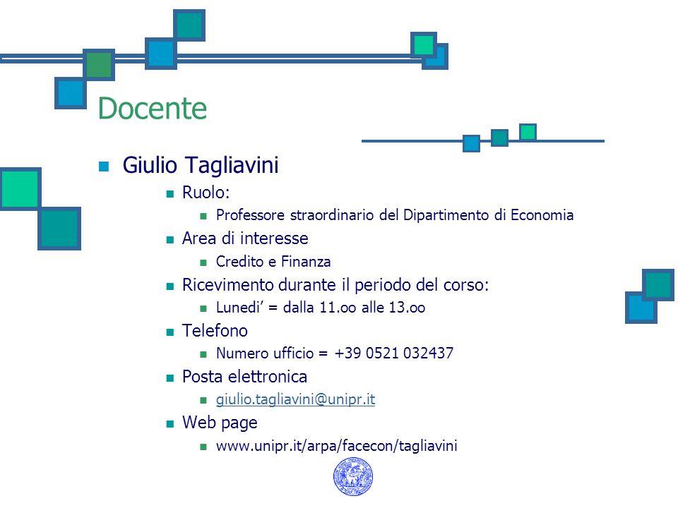 Docente Giulio Tagliavini Ruolo: Professore straordinario del Dipartimento di Economia Area di interesse Credito e Finanza Ricevimento durante il peri