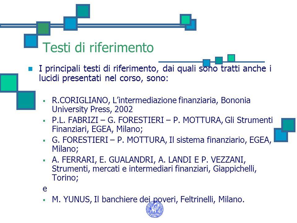 Testi di riferimento I principali testi di riferimento, dai quali sono tratti anche i lucidi presentati nel corso, sono:  R.CORIGLIANO, L'intermediaz