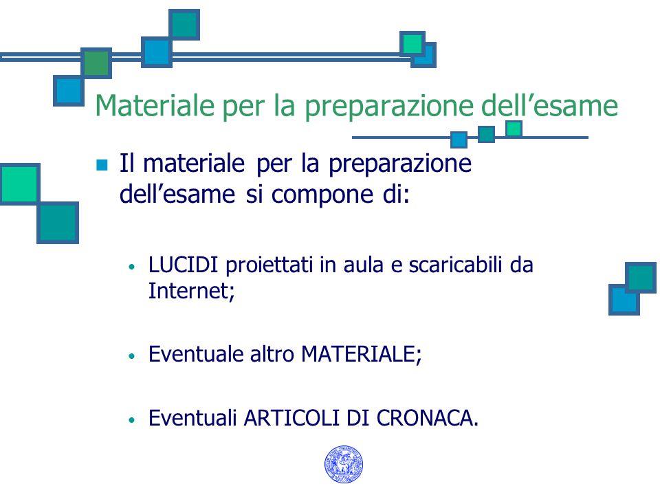 Materiale per la preparazione dell'esame Il materiale per la preparazione dell'esame si compone di: LUCIDI proiettati in aula e scaricabili da Interne