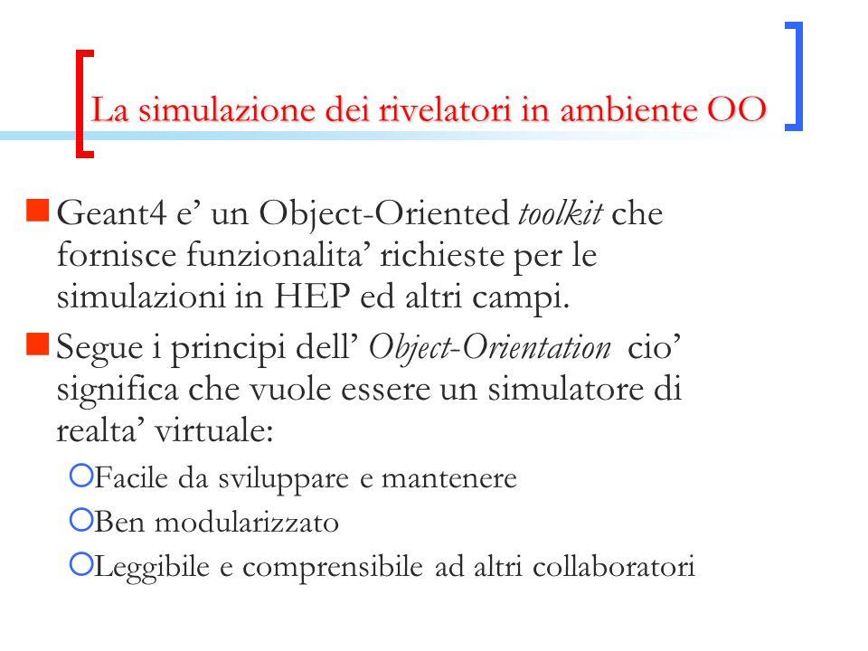 La simulazione dei rivelatori in ambiente OO Geant4 e' un Object-Oriented toolkit che fornisce funzionalita' richieste per le simulazioni in HEP ed altri campi.