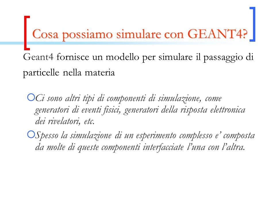 Geant4 fornisce un modello per simulare il passaggio di particelle nella materia  Ci sono altri tipi di componenti di simulazione, come generatori di eventi fisici, generatori della risposta elettronica dei rivelatori, etc.