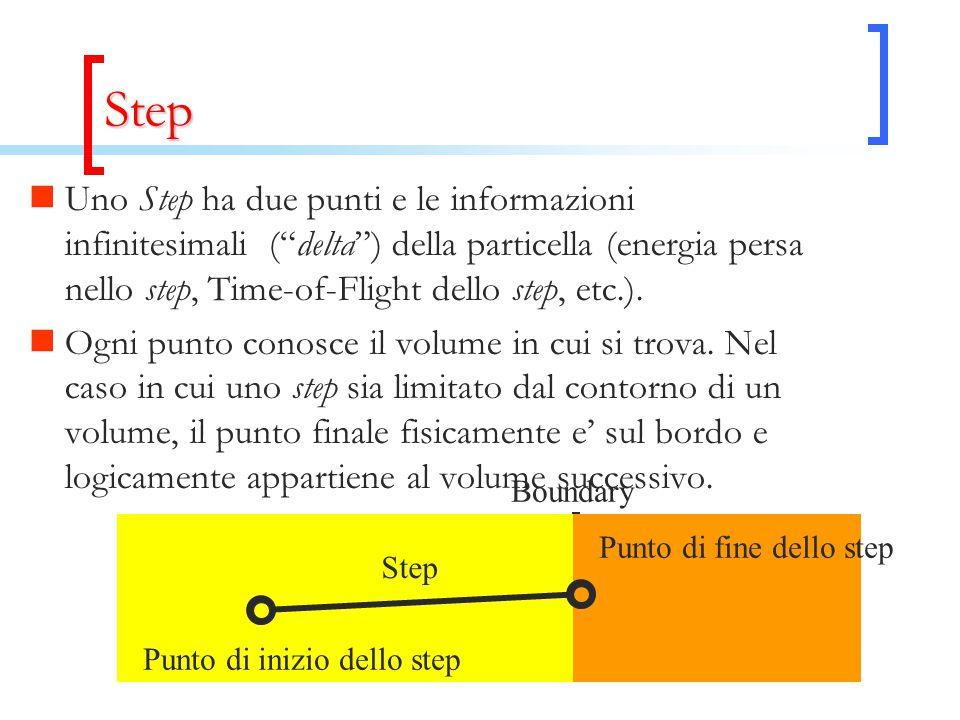 Step Uno Step ha due punti e le informazioni infinitesimali ( delta ) della particella (energia persa nello step, Time-of-Flight dello step, etc.).