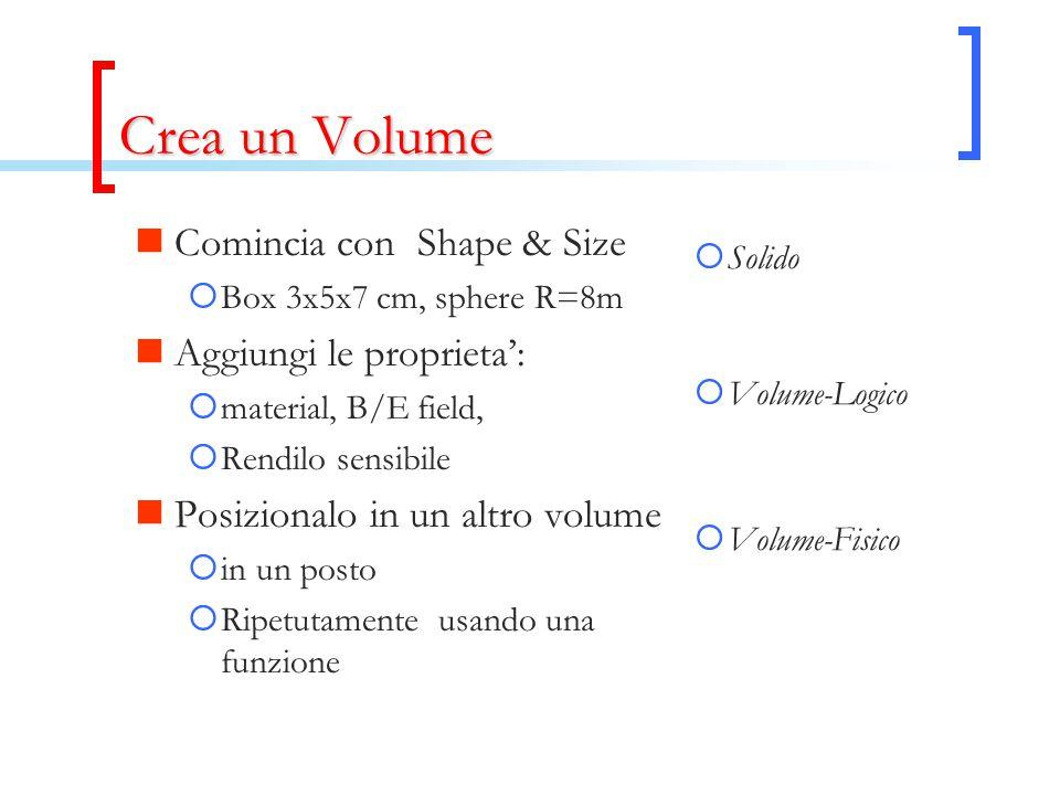 Crea un Volume Comincia con Shape & Size  Box 3x5x7 cm, sphere R=8m Aggiungi le proprieta':  material, B/E field,  Rendilo sensibile Posizionalo in un altro volume  in un posto  Ripetutamente usando una funzione  Solido  Volume-Logico  Volume-Fisico