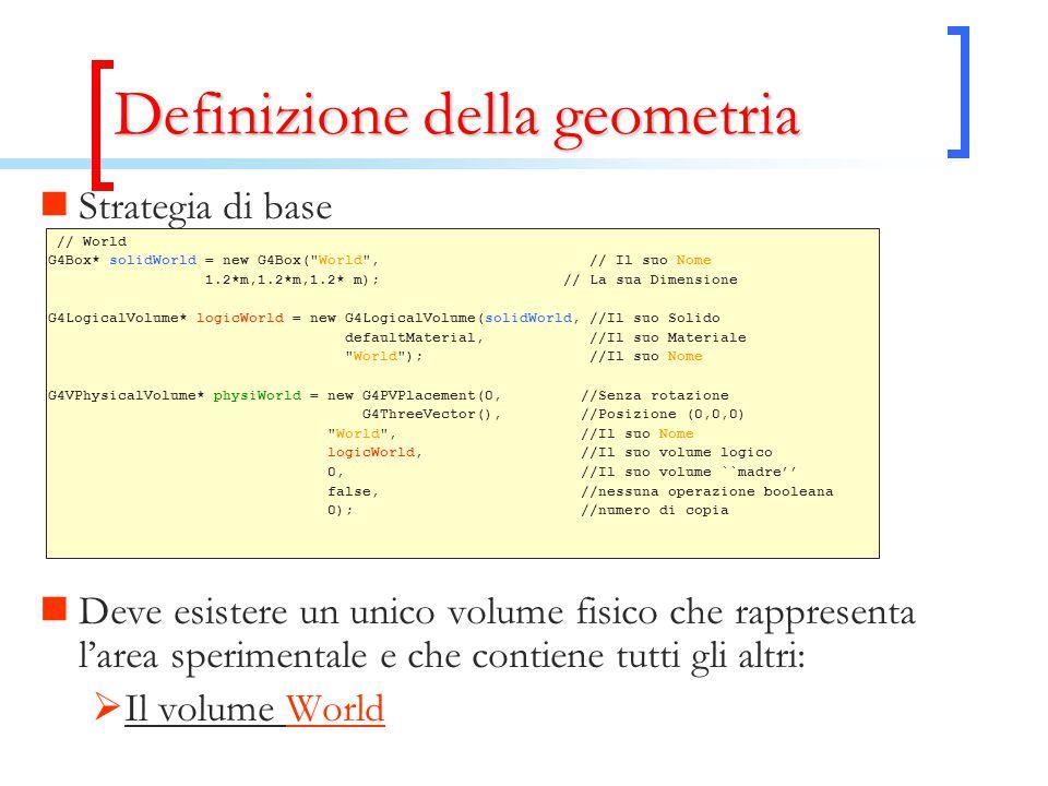 Definizione della geometria Strategia di base // World G4Box* solidWorld = new G4Box( World , // Il suo Nome 1.2*m,1.2*m,1.2* m); // La sua Dimensione G4LogicalVolume* logicWorld = new G4LogicalVolume(solidWorld, //Il suo Solido defaultMaterial, //Il suo Materiale World ); //Il suo Nome G4VPhysicalVolume* physiWorld = new G4PVPlacement(0, //Senza rotazione G4ThreeVector(), //Posizione (0,0,0) World , //Il suo Nome logicWorld, //Il suo volume logico 0, //Il suo volume ``madre'' false, //nessuna operazione booleana 0); //numero di copia Deve esistere un unico volume fisico che rappresenta l'area sperimentale e che contiene tutti gli altri:  Il volume World