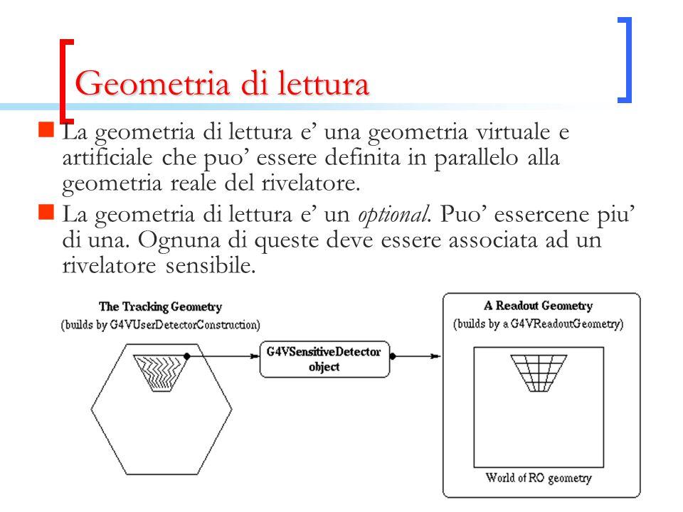 Geometria di lettura La geometria di lettura e' una geometria virtuale e artificiale che puo' essere definita in parallelo alla geometria reale del rivelatore.