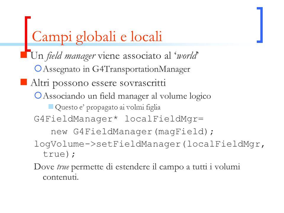 Campi globali e locali Un field manager viene associato al 'world'  Assegnato in G4TransportationManager Altri possono essere sovrascritti  Associando un field manager al volume logico Questo e' propagato ai volmi figlia G4FieldManager* localFieldMgr= new G4FieldManager(magField); logVolume->setFieldManager(localFieldMgr, true); Dove true permette di estendere il campo a tutti i volumi contenuti.