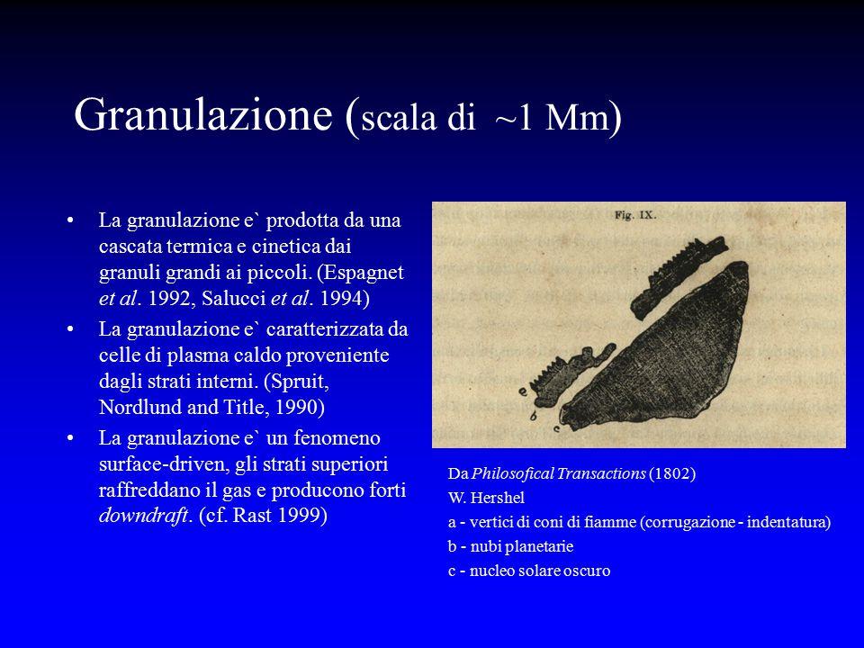 La granulazione e` prodotta da una cascata termica e cinetica dai granuli grandi ai piccoli. (Espagnet et al. 1992, Salucci et al. 1994) La granulazio