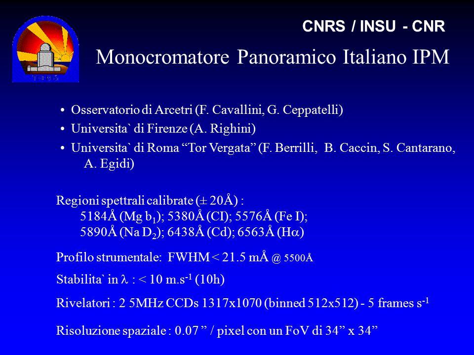 Monocromatore Panoramico Italiano IPM CNRS / INSU - CNR Regioni spettrali calibrate (± 20Å) : 5184Å (Mg b 1 ); 5380Å (CI); 5576Å (Fe I); 5890Å (Na D 2