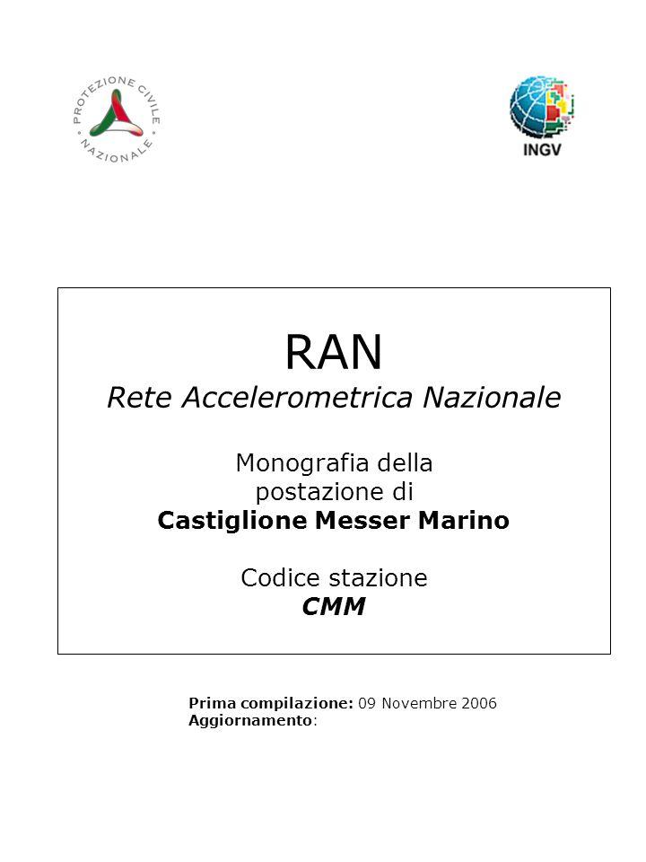 RAN Rete Accelerometrica Nazionale Monografia della postazione di Castiglione Messer Marino Codice stazione CMM Prima compilazione: 09 Novembre 2006 Aggiornamento: