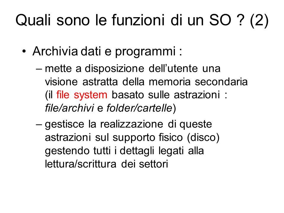 Quali sono le funzioni di un SO ? (2) Archivia dati e programmi : –mette a disposizione dell'utente una visione astratta della memoria secondaria (il