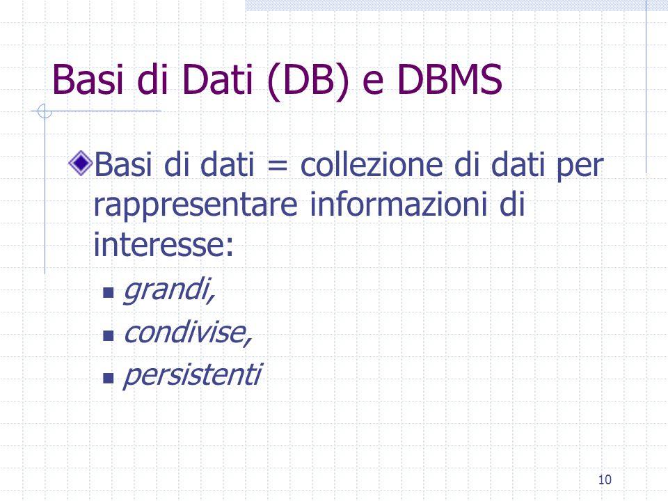 10 Basi di Dati (DB) e DBMS Basi di dati = collezione di dati per rappresentare informazioni di interesse: grandi, condivise, persistenti