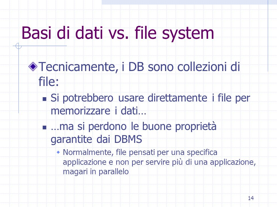 14 Basi di dati vs. file system Tecnicamente, i DB sono collezioni di file: Si potrebbero usare direttamente i file per memorizzare i dati… …ma si per