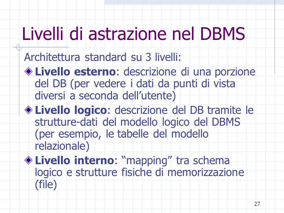 27 Livelli di astrazione nel DBMS Architettura standard su 3 livelli: Livello esterno: descrizione di una porzione del DB (per vedere i dati da punti